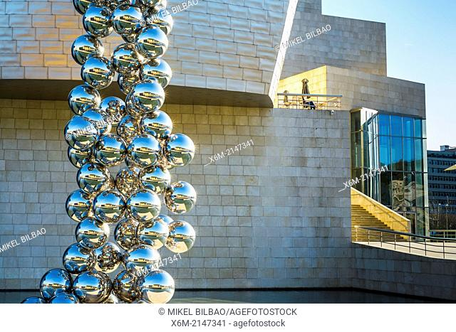 Guggenheim Museum and spheres sculpture. Bilbao, Spain