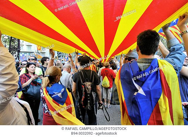 Political demonstration for the independence of Catalonia. Senyera. Catalan flags. October 2017. Barcelona, Catalonia, Spain
