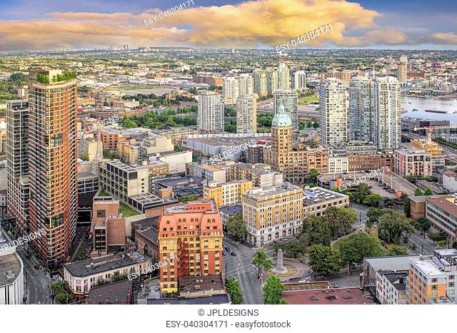 Vancouver BC Canada Downtown Cityscape with Victory Square Aerial View