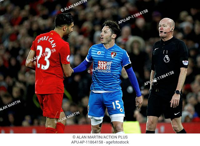 2017 EPL Premier League football Liverpool v Bournemouth Apr 5th. April 5th 2017, Anfield, Liverpool, Merseyside; EPL Premier league football