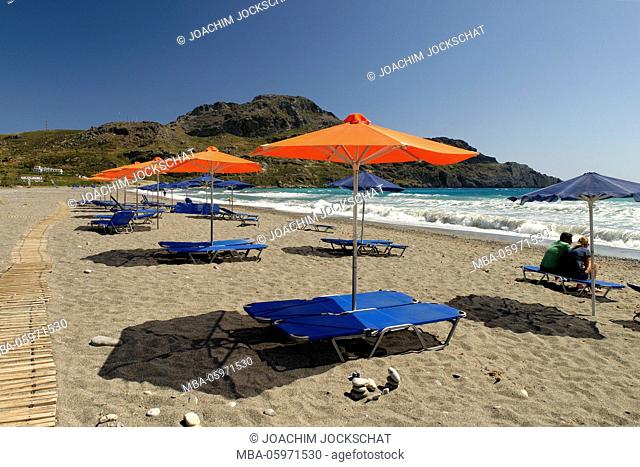 On the beach of Plakias, Rethimnon district, Crete, south coast, Greece