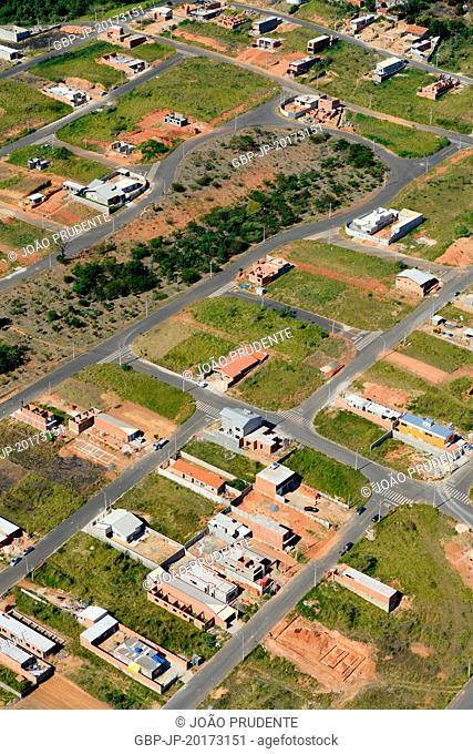 Aerial view of dwellings in the neighborhood of the Santo Antônio Chapel region of Serra da Mantiqueira, Jaguariúna, São Paulo, Brazil, 07.2016