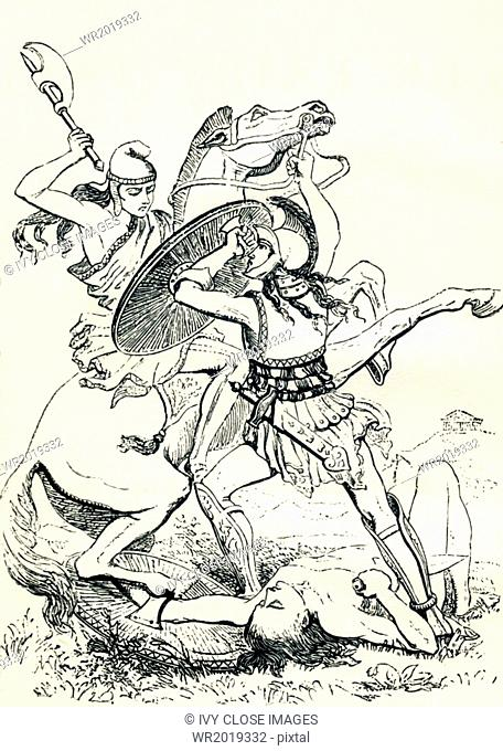 A Greek soldier on foot, a hoplite, attacks a mounted warrior with fierce determination after slaying another enemy who had been on foot as he was