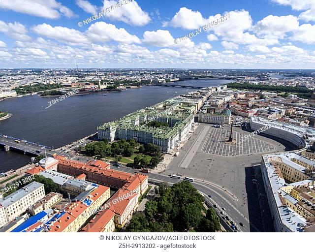 """Architectural and historical monument """"""""Admiralty headquarters"""""""" from a bird's eye view. Saint Petersburg. Russia"""