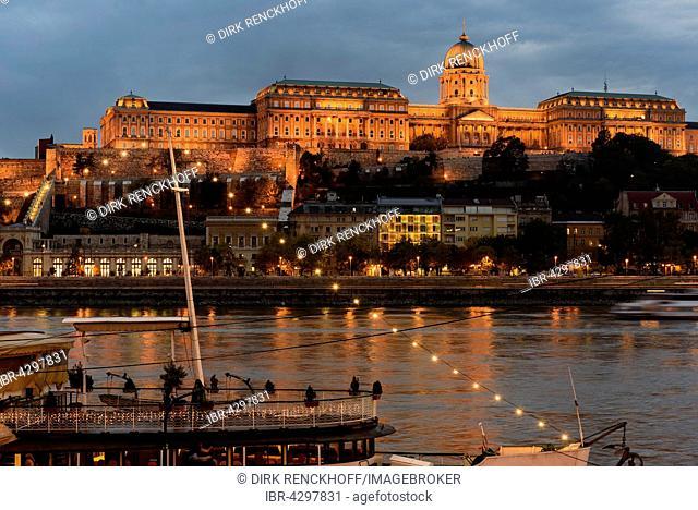 View from Pest on Buda with Buda Castle, Budavári Palota, Budapest, Hungary