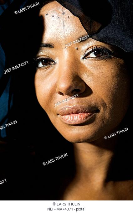 Portrait of an African woman, close-up, Sweden