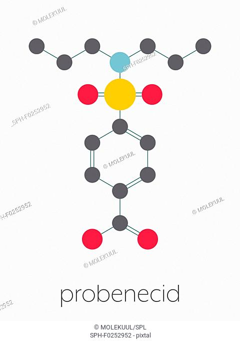 Probenecid gout drug molecule. Also used as masking agent in sports doping. Stylized skeletal formula (chemical structure)