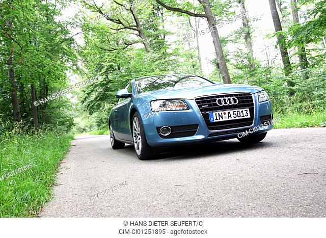 Audi A5 Coupe 3.0 TDI Quattro, model year 2007, blue, standing, upholding, diagonal from the front/below, frontal view, country road