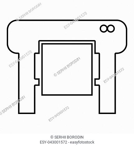 Plotter icon black color vector illustration flat style outline