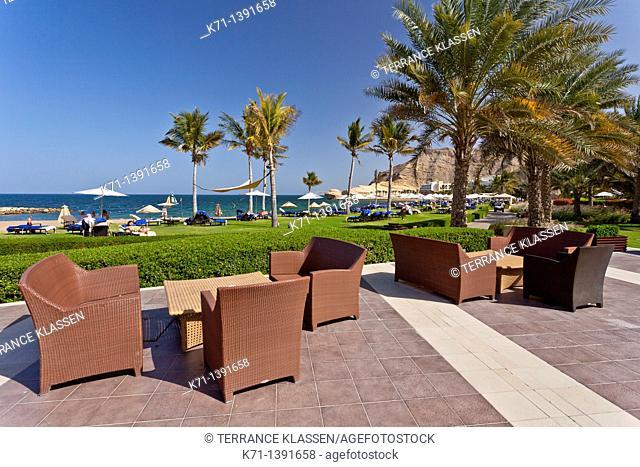 Outdoor gardens and patio at the Barr Al Jissah resort near Muscat, Oman