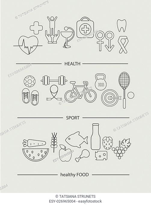 Modern thin line icons set of healthy lifestyle concept. Simple mono linear pictogram pack of health, food and sport. Stroke vector logo concept for web...