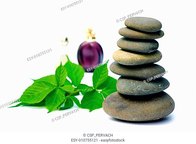 wellness products wet spa stones and leaves