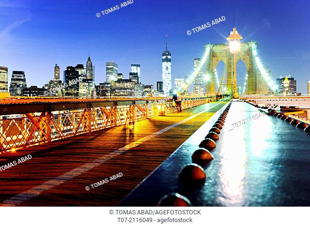 View of the Freedom Tower from the Brooklyn Bridge, Lower Manhattan, New York City, USA