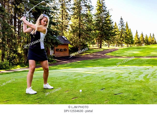 A female golfer at the top of her swing as she gets ready to hit the ball after setting up her shot; Edmonton, Alberta, Canada