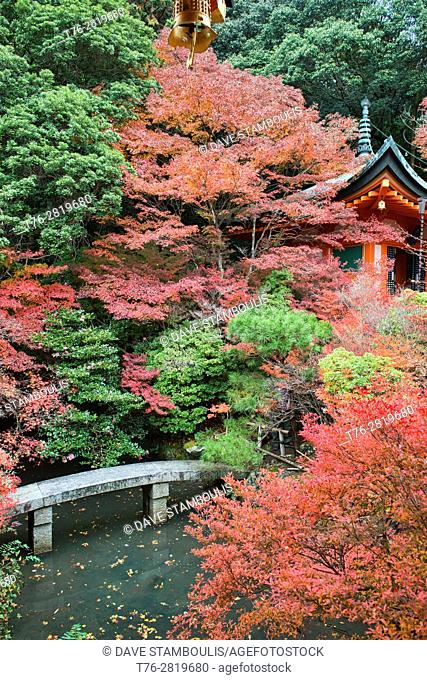 Autumn colors at Bishumondo Temple, Kyoto, Japan