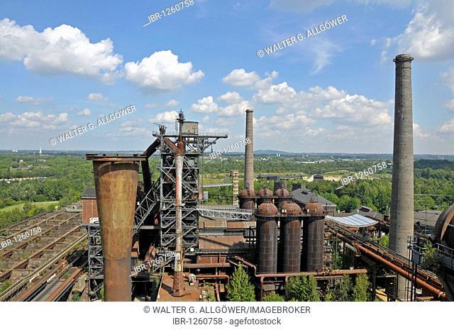 Blast furnace in the Landschaftspark Duisburg-Nord landscape park, a former Thyssen blast furnace plant in Meiderich, Duisburg, North Rhine-Westphalia, Germany