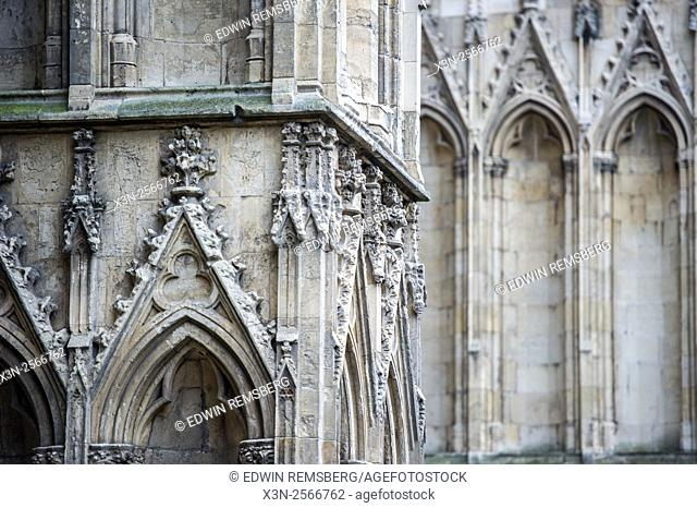 Architecture detail at York Minster in Yorkshire, England, UK