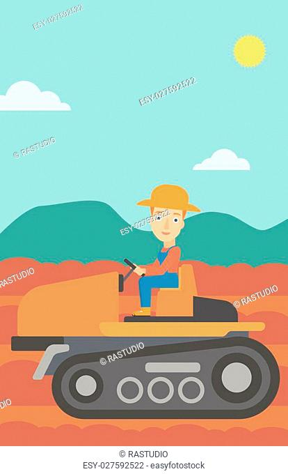 A woman driving a tractor on a background of plowed agricultural field vector flat design illustration. Vertical layout