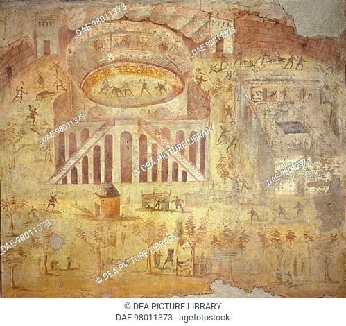 Roman wallpainting from Villa of the Mysteries, Pompeii, Italy, 1st ...