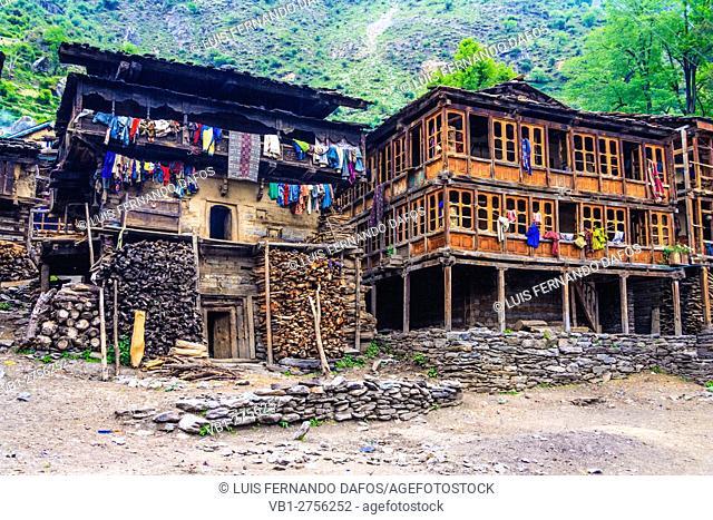 Malana traditional architecture. Malana, Himachal Pradesh, India