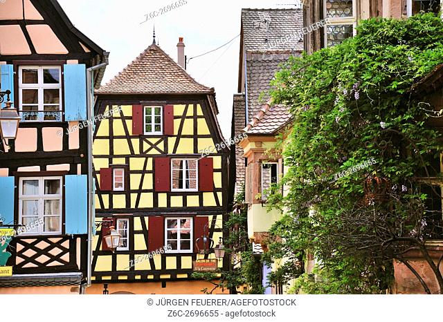 Old picturesque village Riquewihr, village of wine, member of most beautiful villages of France, eastern France, border to Germany
