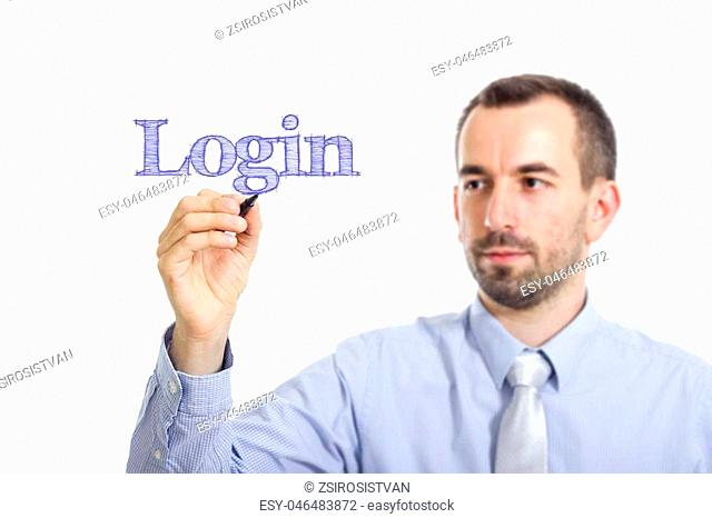Login Young businessman writing blue text on transparent surface - horizontal image