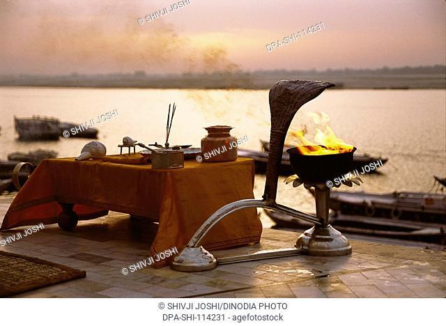 Pooja articles for arti on ghat of Varanasi , Uttar Pradesh , India