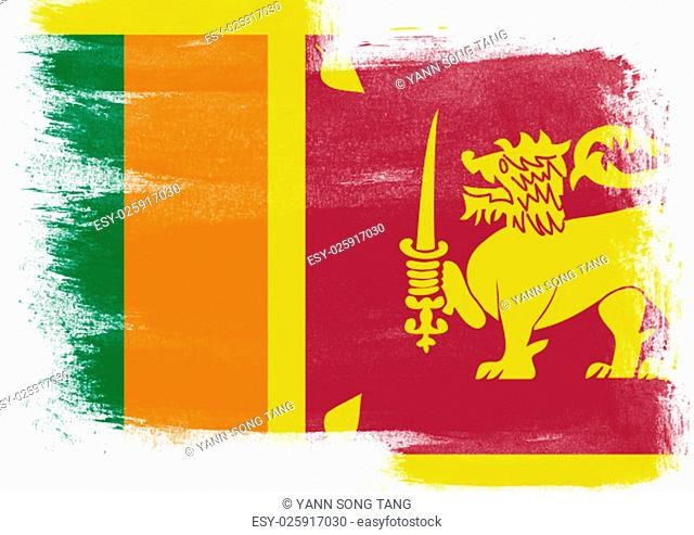 Flag of Sri Lanka painted with brush on solid background