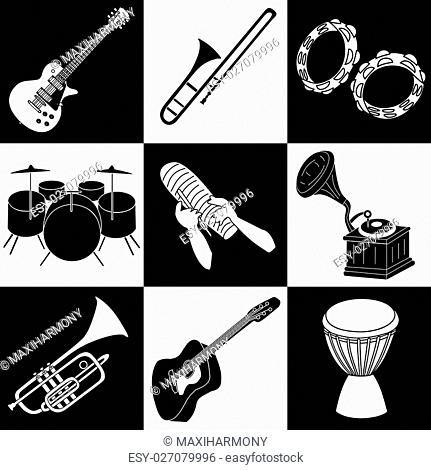 Musical instruments cliparts in black and white