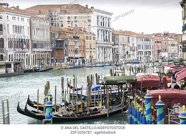 Venice, Veneto, Italy: Grand canal from Rialto bridge