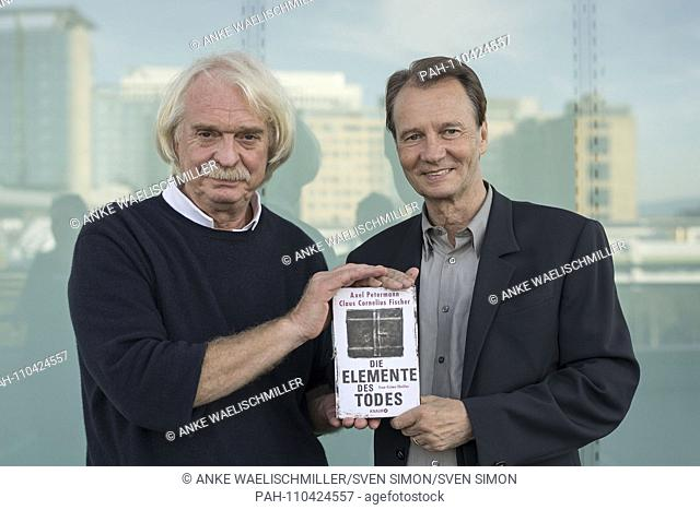 """Axel PETERMANN l. / Claus Cornelius FISCHER, Germany, with your book """"""""The Elements of Death"""""""" Droemer Knaur Verlag, 12.10"""