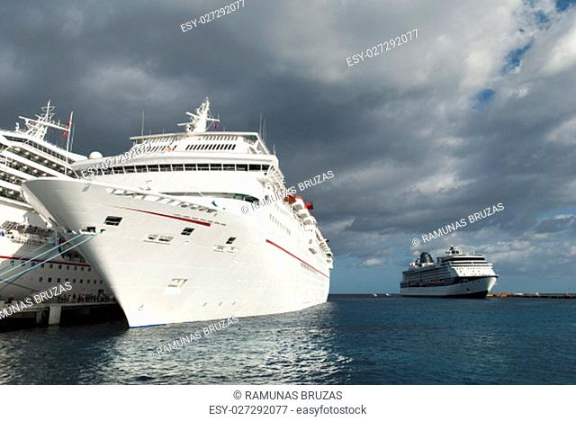 The morning view of cruise liners docked in San Miguel of Cozumel island (Mexico)