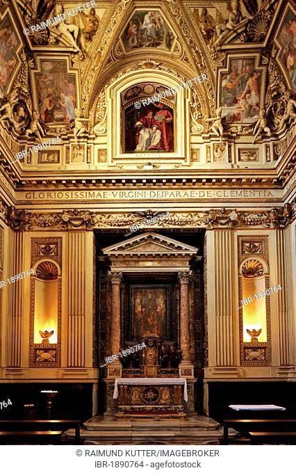 Capella Altemps with altar and Madonna della Clemenza in the Basilica of Santa Maria in Trastevere, Rome, Lazio, Italy, Europe