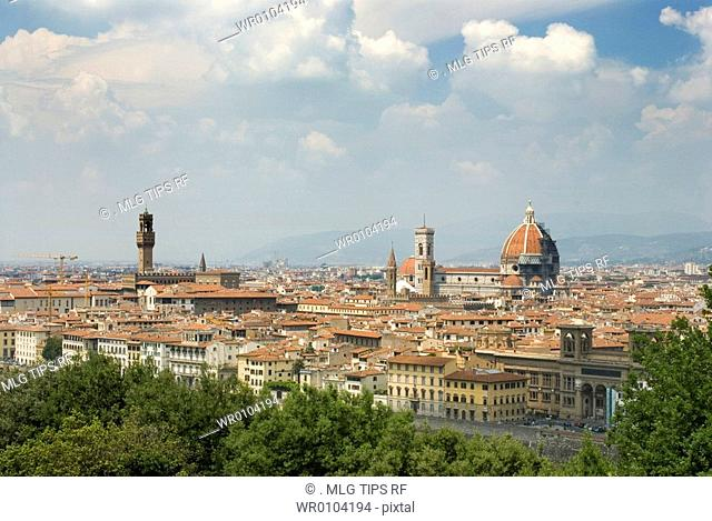 Italy, Tuscany, Florence, view of the city from Michelangelo square