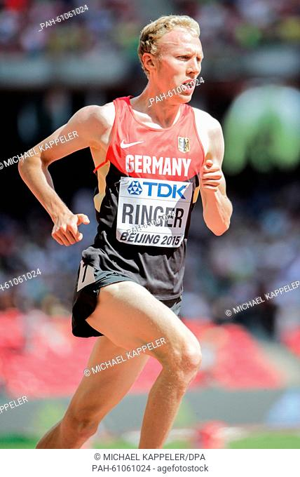 Germany's Richard Ringer competes during the Men's 5000 m Round 1 on the 15th International Association of Athletics Federations (IAAF) Athletics World...