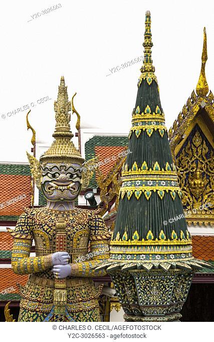 Bangkok, Thailand. Demon Guardian in the Royal Grand Palace Grounds