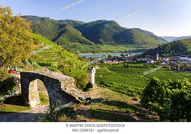 Old town gate Rote Tor in the village Spitz, which is nested in the vineyards of the Wachau. The Wachau is a famous vineyard and listed as Wachau Cultural...