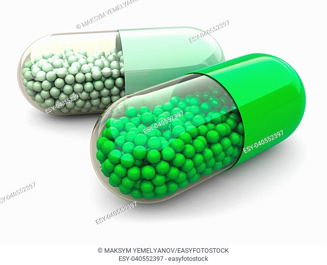 Green pills and drugs on white isolated background. Medical concept. 3d