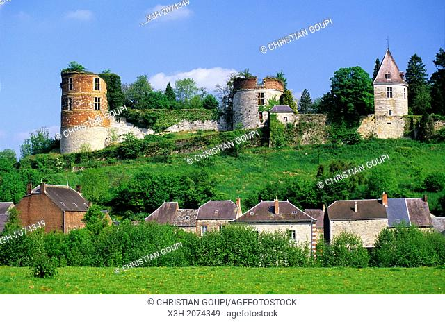 partially ruined Castle of Hierges near Givet, Ardennes departement, Champagne-Ardenne region, Northern France, Europe