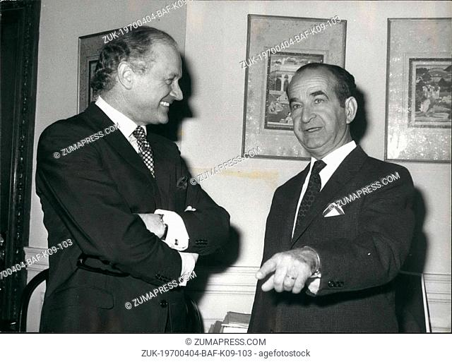 Apr. 04, 1970 - President elect of Costa Rica visits foreign and commonwealth office. The president Elect of Costa Rica, Sr