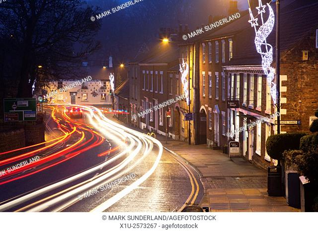 Christmas Lights and Traffic Trails at Knaresborough North Yorkshire England