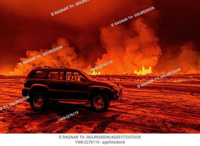 SUV close to the Eruption at Holuhraun, near the Bardarbunga Volcano, Iceland