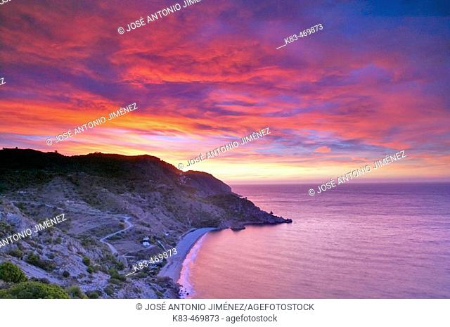 Maro-Cerro Gordo cliffs at sunset. Málaga province, Andalusia, Spain