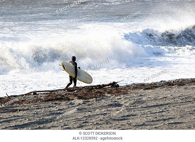 Surfer with his board walking along the shore with crashing waves in the background, Southeast Alaska; Yakutat, Alaska, United States of America
