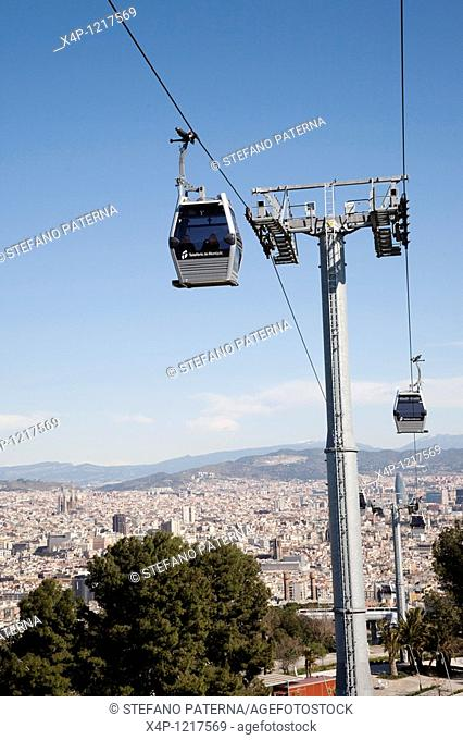 View from the Montjuic down to the city of Barcelona, Spain