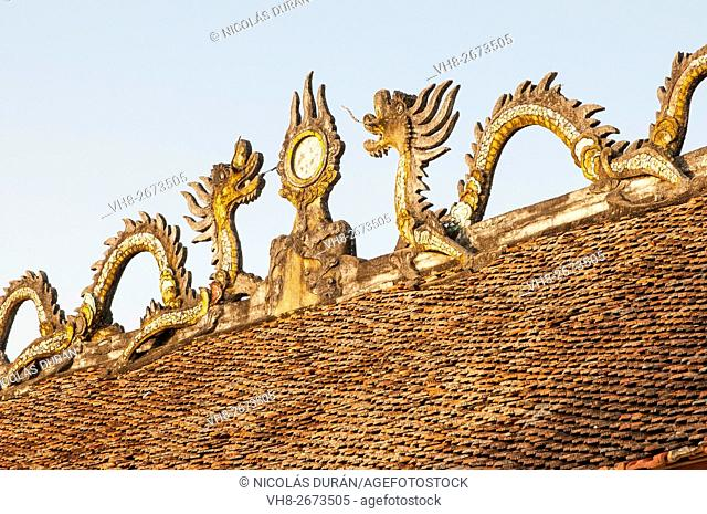 Dragons on temple roof. Vietnam