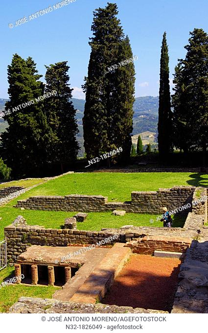 Fiesole, Roman ruins, Florence province, Tuscany, Italy, Europe