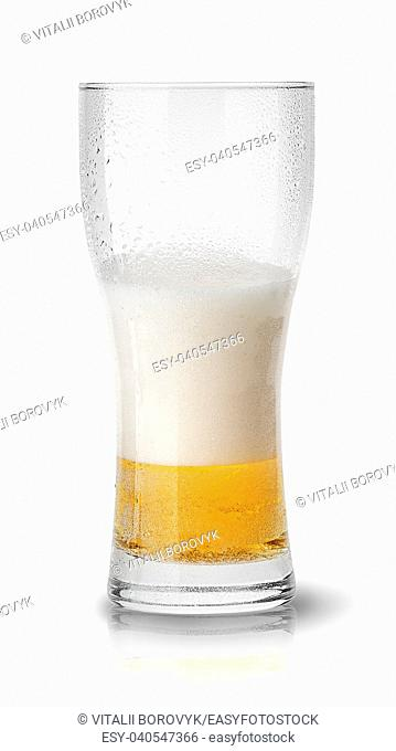 Few beer in sweaty glass isolated on white background
