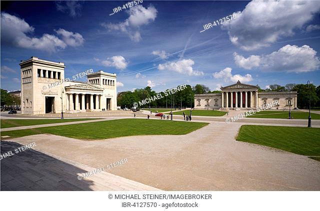 Königsplatz Munich, view of the Staatliche Antikensammlungen or State Collections of Antiques to the Propylaea and the Glyptothek, Munich, Upper Bavaria