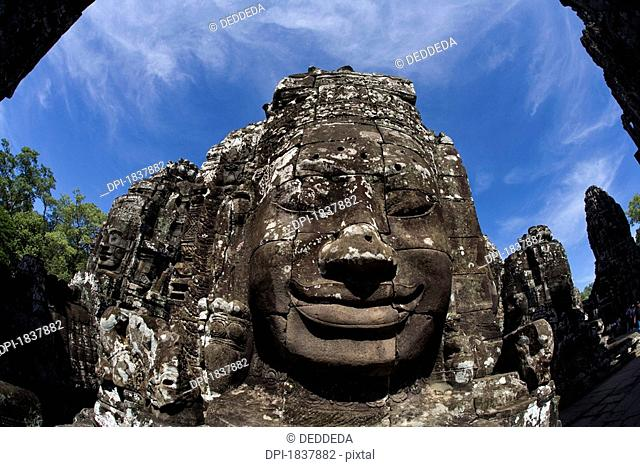 Bayon temple, Angkor, Cambodia, sculpted face